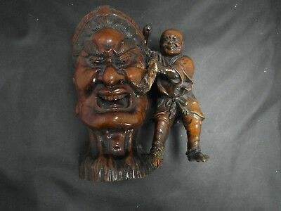 Stunning Quality Antique 19C Signed Oriental Carved Sandal Wood Figure