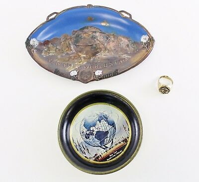New York Worlds Fair 1964-1965 Unisphere Painted Copper Tray + Ring & Ash Tray