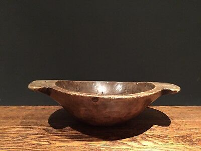 Lrg Antique Elm / Yew Wooden Dairy Bowl 19th Century Wood Treen  Kitchen Welsh