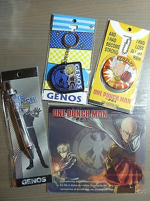 One Punch Man Saitama and Genos misc items set (2 keychains+pen+mouse pad) NEW
