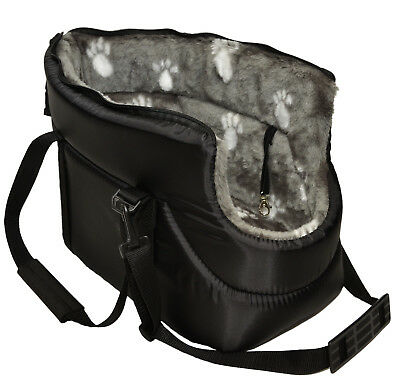 BLACK with GREY FUR CARRY BAG SHOULDER TRAVEL CARRIER DOG PUPPY CAT PET ANIMAL