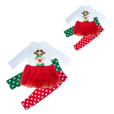 5X(SR Girl Christmas Suit Sets Children's Xmas costume suits Deer baby girl one-