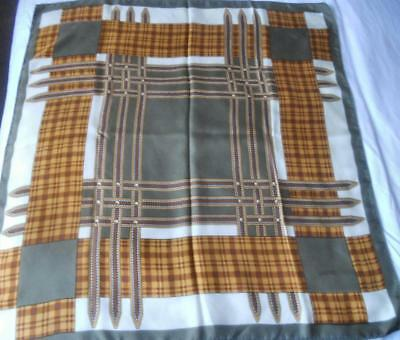 VINTAGE LOEWE PURE SILK SCARF SQUARE STUDDED STRAPS DESIGN 77 x 74 cms
