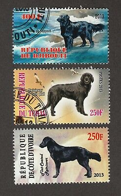 FLAT-COATED RETRIEVER ** Int'l Dog Postage Stamp Collection ** Unique Gift **