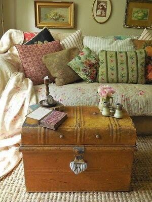 Lovely little antique French tin trunk, steamer trunk, coffee table