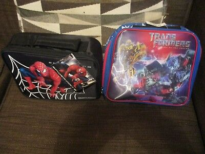 Spiderman 3 And Trans Formers Lot Of Two Youth School Lunch Boxes New With Tags