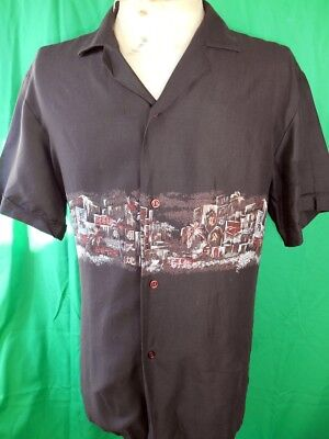 Vintage 70s 80s Brown Short Sleeve Polyester Squire Tropical Disco Party Shirt L