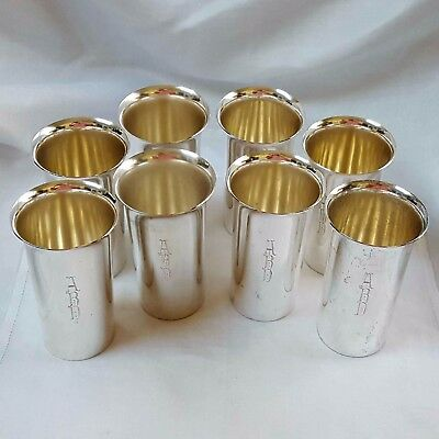 Set of 8 Wallace mid-century modern tumblers #234 in sterling silver mono ABD