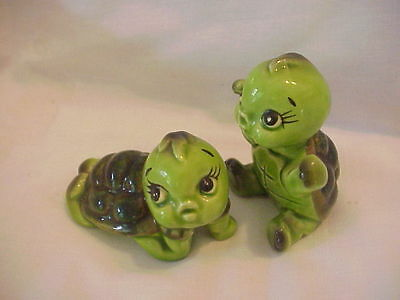 "Vintage Norcrest Japan ceramic set of green cute turtles 2 1/2"" excellent tags"