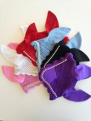 Equestrian Bonnet Competition Fly Veil Ear Net With Crystals Pony, Cob and Full