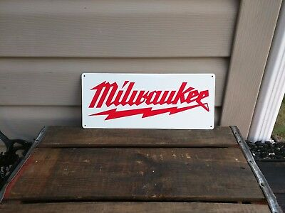 Milwaukee heavy duty advertising metal sign vintage advertisement 5x12 50083