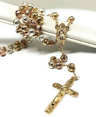 """20"""" Gold Laminated Tri Color Rosary With Guadalupe Jesus Cross Crucifix 6mm Bead"""