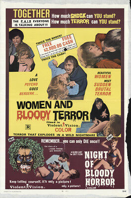 Women and Bloody Terror/Night of Bloody Horror 1972 27x41 Orig Movie Poster