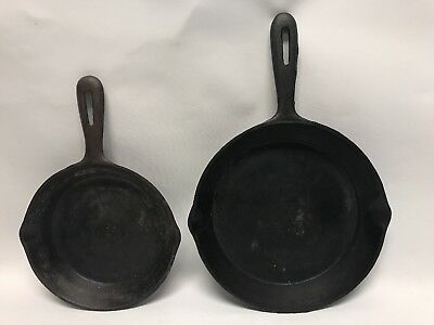 """Lot of 2 Vintage Miniature Cast Iron Skillets 6 1/2"""" & 8"""" made in Taiwan"""