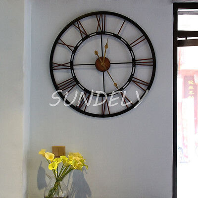 Large Traditional Vintage Style Iron Wall Clock Roman Numerals Home Decor 70Cm.