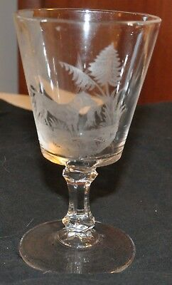 EAPG Antique Etched Acid Goblet Hunting Dog with Fox