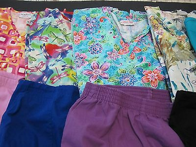 Womans Lot Of Scrub Sets, 5 Tops, 5 Pants,nice Condition  Size M (Box 365)