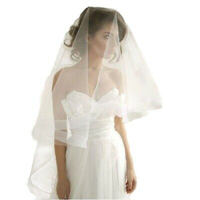 TWO LAYER WEDDING BRIDAL VEIL With Comb & Blusher Drop Bride Church WHITE IVORY