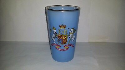 "Vintage Collectible Blue Glass ""Coronation of Queen Elizabeth II"" 1953"