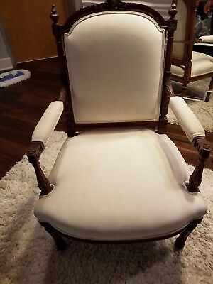 Pair of Walnut Antique French Louis XVI Armchairs