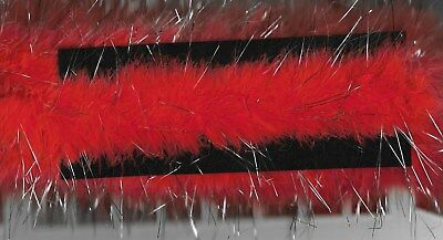 Marabou Christmas Feather Trim~Red/ Metallic Silver~10 Metre Length~60 Mm