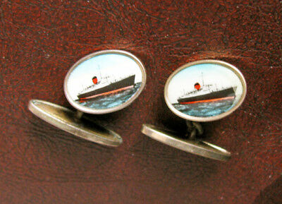 Old Pair of Gold Gilt Cuff Links SS IVERNIA Ocean Liner Cruise Ship Cunard Line