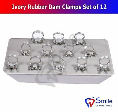 Ivory Rubber Dam Clamps Restorative Endodontic Clamp Set Of 12 Kofferdamklammern