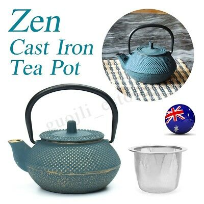 Blue Japanese Style Cast Iron Kettle Tetsubin Teapot w/ Strainer Tea Pot  300ml