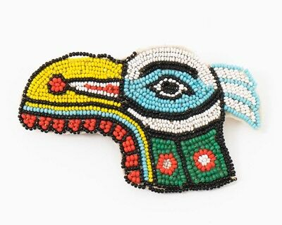 """Vintage Hand Beaded Native American Indian Bird Head Patch 3-3/4"""" x 2-1/4"""" Tall"""