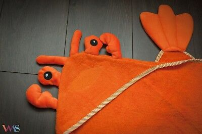 100% COTTON Baby Hooded Happy Lobster Towel --UK FREE SHIPPING!--