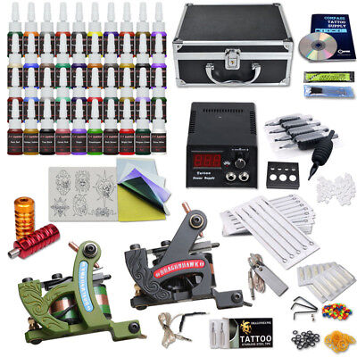 Complete Tattoo Kit Set 40 Color Inks Power Supply 2 TOP Machine Guns AUS