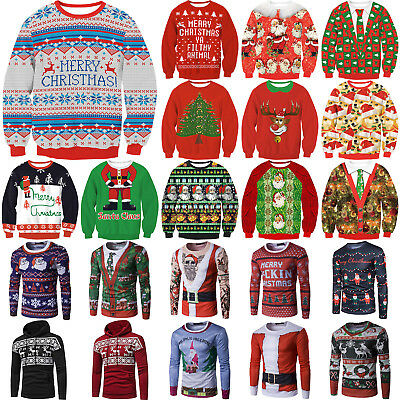 Mens WomenS Unisex Christmas Sweater Pullover Jumper Tops Xmas Party Sweatshirt