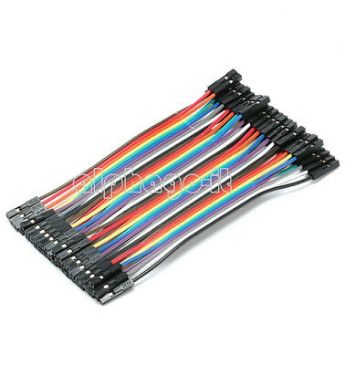 40PCS Dupont Wire Ribbon Jumper Cables 10cm Female To Female 1P-1P For Arduino