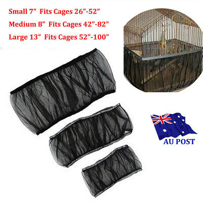 3 Sizes Black Seed Catcher Guard Nylon Mesh Bird Cage Tidy Cover Skirt Cage SN