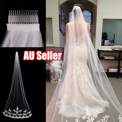 White Ivory 1T Cathedral Applique Edge Lace Bridal Wedding Veil With Comb 3M SN