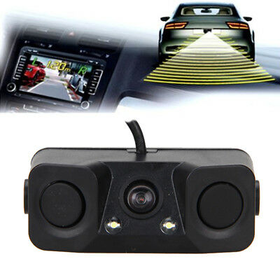 3 In1 170° Reverse Backup HD LED Rear View Camera w/ Parking Radar Sensor Buzzer