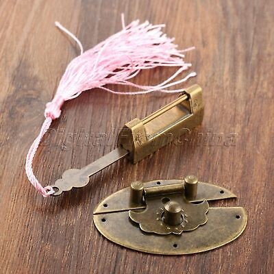 Vintage Chinese Style Carved Bird Flower Padlock Key & Latch Hasps Clasp Latches
