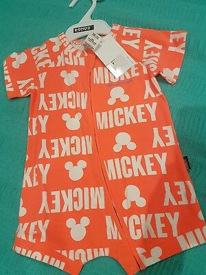 Bonds Disney Mickey Orange Rompa summersuit size 1 NWT