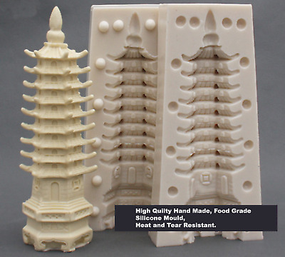 Tall Chinese Buddhist Temple Chocolate Cake Clay Polymer Soap Diy Silicon Mould