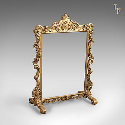 Antique Fire Screen, Victorian Gilt Gesso Frame Guard English Early 19th Century