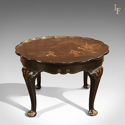Antique Black Lacquered Pie Crust Tea Table, Victorian Chinoiserie coffee c.1900
