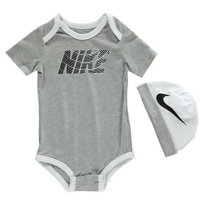 brand new Baby boys grey Nike futura Baby Romper Suit with grey nike hat 6-9mths
