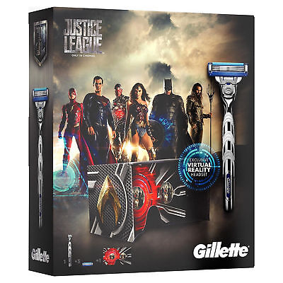 Gillette Mach3  Justice League Turbo Razor Gift Set, 2 Refills & VR Headset, New