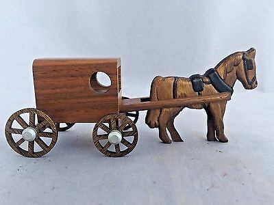 Vintage Hand Carved Wood Horse and Wagon Miniature