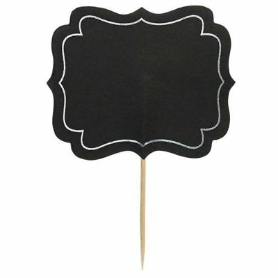 24pk Chalkboard Write On Party Food Labels Cocktail Sticks Pick Decorations