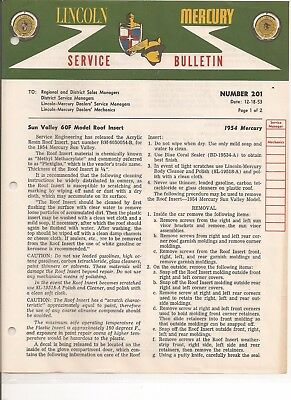 1954 Mercury Sun Valley  Roof Insert Service Bulletin Cleaning Removal Install