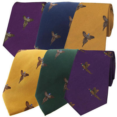 New fishoot Mens Pheasant Print Shooting Hunting Country silk Tie Christmas Gift