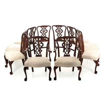 Set of Ten Chippendale Style Antique Carved Mahogany Dining Chairs, 19th Century