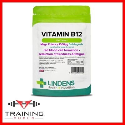 Lindens Vitamin B12 1000mcg 100 Sublingual Tabs, Cell Formation, Tiredness,
