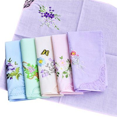 Embroidery Cotton Handkerchiefs Mix Lot Handkie Wedding Gift Women Floral 3PC